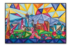 Postkarte Höchst kubistisch