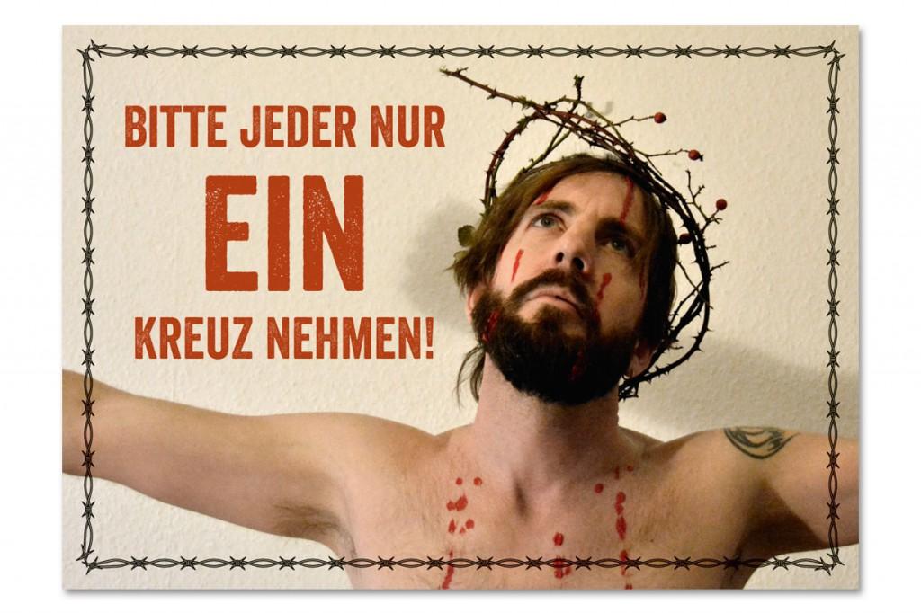 Osterkarte »Bitte jeder nur ein Kreuz nehmen«